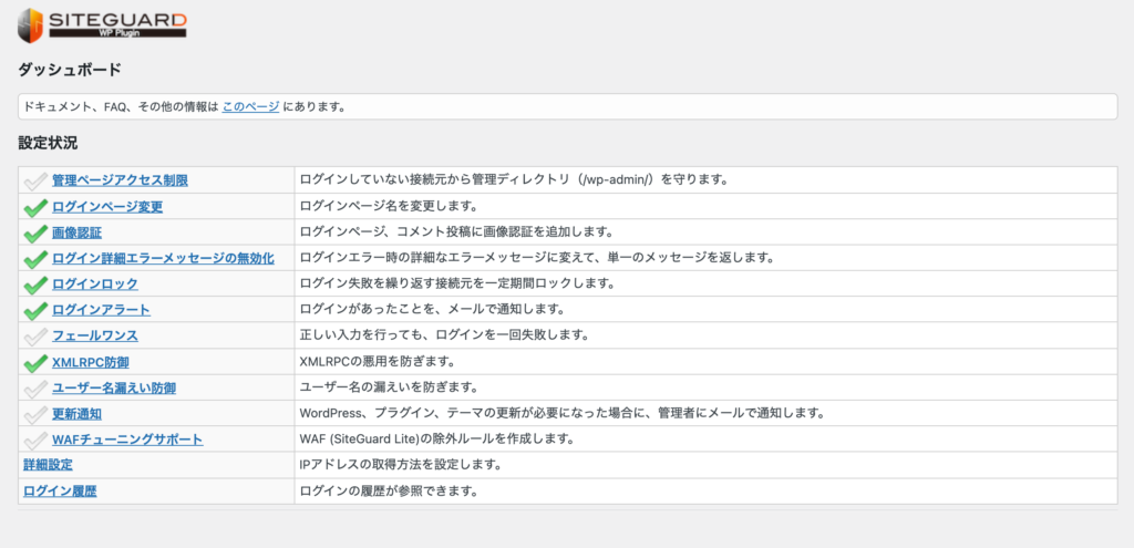 SiteGuard WP Plugin:ダッシュボード
